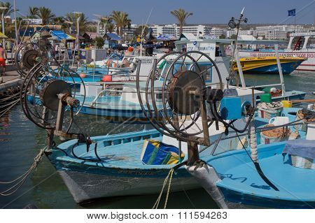 Boats In Agia-napa Harbor