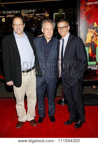 David Milch, Michael Mann and Michael Lombardo at the Los Angeles premiere of HBO's