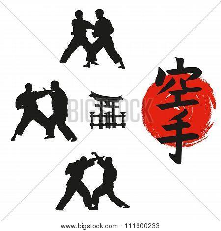 Hieroglyph Of Karate And Men Demonstrating Karate.