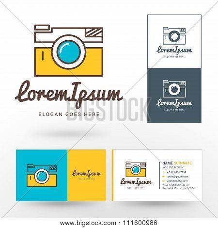 Vector Logo Template. Thin Line Vector Camera. Logo For Photographer Or Studio