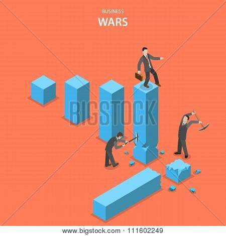 Business wars isometric flat vector concept.