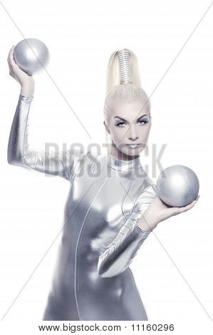 Beautiful cyber woman with a silver balls