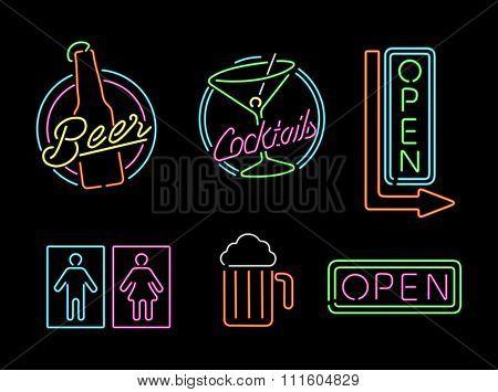 Neon Light Sign Set Icon Retro Bar Beer Open Label