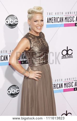 Pink at the 40th American Music Awards held at the Nokia Theatre L.A. Live in Los Angeles, USA on November 18, 2012.