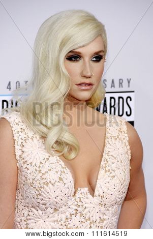 Kesha at the 2012 American Music Awards held at the Nokia Theatre L.A. Live in Los Angeles, USA on November 18, 2012.