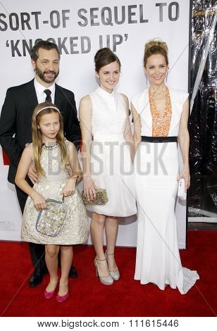 Judd Apatow, Maude Apatow, Iris Apatow and Leslie Mann at the Los Angeles Premiere of