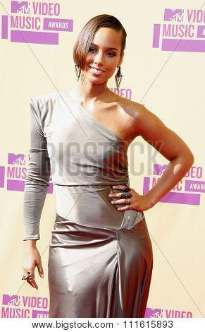 Alicia Keys at the 2012 MTV Video Music Awards held at the Staples Center in Los Angeles, USA on September 6, 2012.