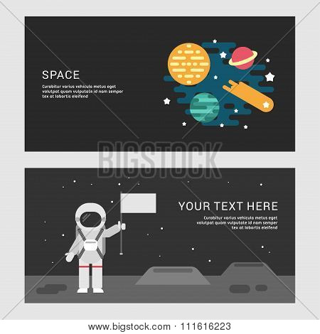 Space And Moon Landing Concept. Set Of Flat Style Vector Conceptual Illustrations For Web Banners Or