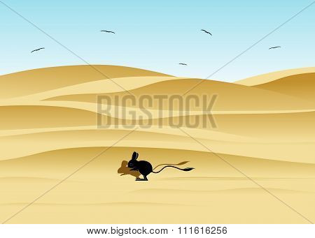 desert landscape and jerboa.