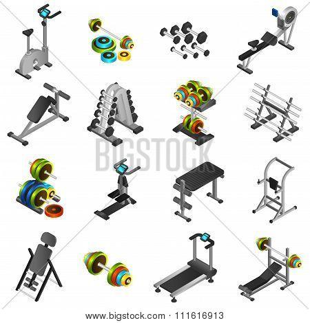 Realistic Fitness Equipment Icons Set