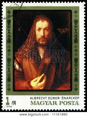 Vintage  Postage Stamp. Albrecht Durer. Self - Portrait.
