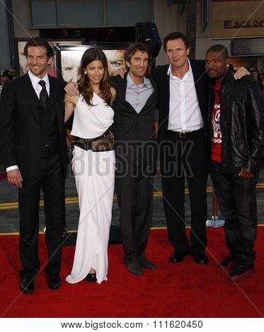 Jessica Biel, Liam Neeson, Bradley Cooper, Sharlto Copley and Quinton Jackson at the World premiere of 'The A-Team' held at the Grauman's Chinese Theater in Hollywood, USA on June 3, 2010.