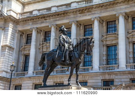 Prince George, Duke Of Cambridge-statue On Whitehall, Opposite The Old War Office In London.UK