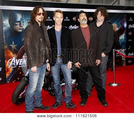 Chris Cornell, Matt Cameron, Kim Thayil, Ben Shepherd of Soundgarden at the Los Angeles premiere of