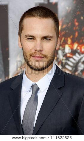Taylor Kitsch at the Los Angeles premiere of 'Battleship' held at the Nokia Theatre L.A. Live in Los Angeles, USA on May 10, 2012.