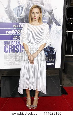 HOLLYWOOD, CA, USA - OCTOBER 26, 2015: Zoe Kazan at the Los Angeles premiere of 'Our Brand Is Crisis' held at the TCL Chinese Theatre in Hollywood.