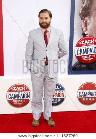 Zach Galifianakis at the Los Angeles premiere of 'The Campaign' held at the Grauman's Chinese Theatre in Hollywood, USA on August 2, 2012.