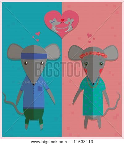 Mouse boy and mouse girl. Couple in love. Romantic concept. Valentine's day greeting card. Cute cart
