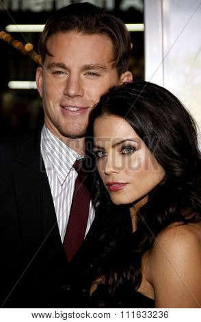 HOLLYWOOD, CALIFORNIA - February 1, 2010. Channing Tatum and Jenna Dewan at the World premiere of