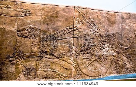 King Hunt Relief From Palace Of Assurbanipal In Nineveh