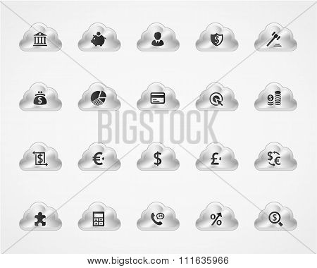 Set of banking icons on metallic clouds