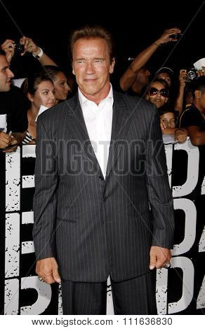 LOS ANGELES, CALIFORNIA - August 15, 2012. Arnold Schwarzenegger at the Los Angeles premiere of 'The Expendables 2' held at the Grauman's Chinese Theatre, Los Angeles.
