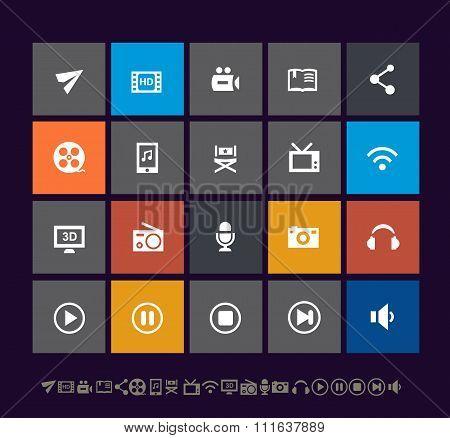 Trendy metro multimedia icons