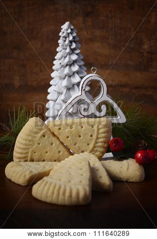 Christmas Shortbread On Rustic Background.
