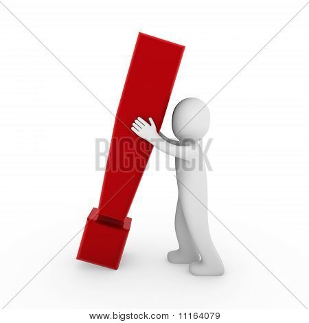 3D Human Exclamation Mark Red