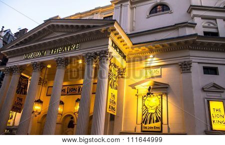 Entrance To The Popular London's Lyceum Theatre With Lion King Displays.
