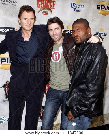 Liam Neeson, Sharlton Copley and Quinton Jackson at the 2010 Guys Choice Awards held at the Sony Pictures Studios in Culver City, California, United States on June 5, 2010.