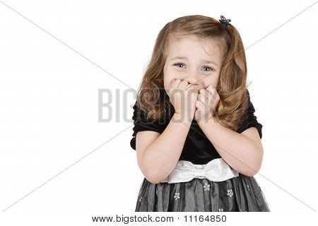 Girl holds mouth in suspense