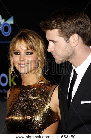 Jennifer Lawrence and Liam Hemsworth at the Los Angeles Premiere of