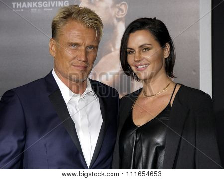 Dolph Lundgren and Jenny Sandersson at the Los Angeles premiere of 'Creed' held at the Regency Village Theatre in Westwood, USA on November 19, 2015.