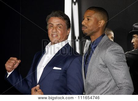 Sylvester Stallone and Michael B. Jordan at the Los Angeles premiere of 'Creed' held at the Regency Village Theatre in Westwood, USA on November 19, 2015.