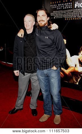 HOLLYWOOD, CALIFORNIA - December 6, 2010. Christian Bale and Dicky Eklund at the Los Angeles premiere of