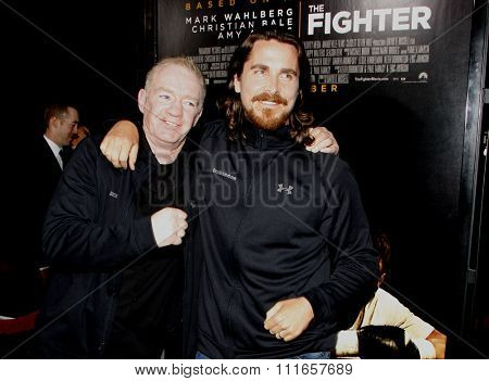 Dicky Eklund and Christian Bale at the Los Angeles Premiere of