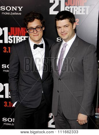 Phil Lord and Christopher Miller at the Los Angeles Premiere of