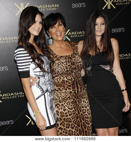 Kendall Jenner, Kris Jenner and Kylie Jenner at the Kardashian Kollection Launch Party held at the Colony in Los Angeles, California, United States on August 17, 2011.