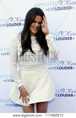 BEVERLY HILLS, CA, USA - AUGUST 02, 2012. Khloe Kardashian at the HPNOTIQ Harmonie Cocktail Recipe Launch held at the Mr. C Beverly Hills, Los Angeles.