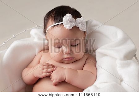 Baby Girl With White Bow Headband