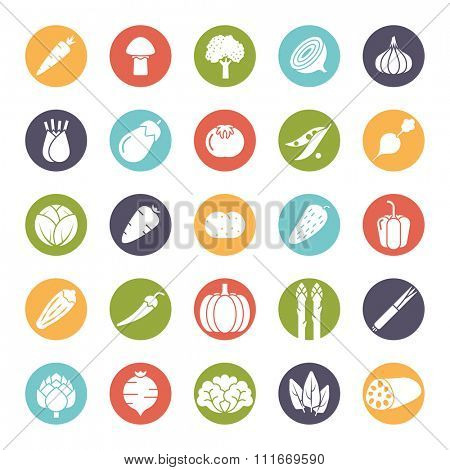 Collection of vegetable icons, negative in colored circles