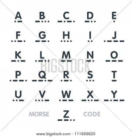 Morse code, alphabet. Vector.