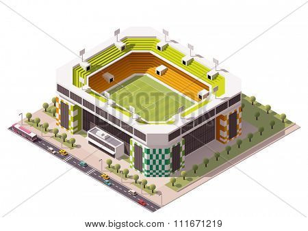 Isometric icon representing football stadium
