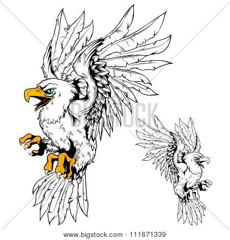 Vector Eagle Vintage Line Drawing Egale with Partial colored