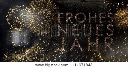 Glittering frohes neues jahr against colourful fireworks exploding on black background