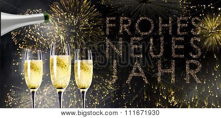 Champagne pouring against glittering frohes neues jahr