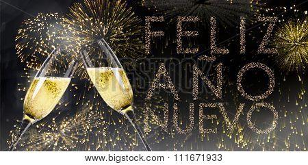 Champagne glasses clinking against glittering feliz ano nuevo