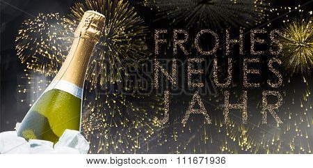 Champagne glasses clinking against glittering frohes neues jahr
