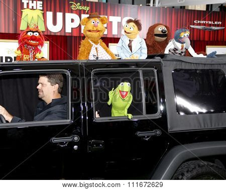 HOLLYWOOD, CALIFORNIA - November 12, 2011. Kermit The Frog, Fozzie Bear, Animal, Gonzo and Rowlf The Dog at the World premiere of